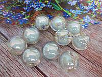 Пластиковые камни-висюльки, шар перламутровый, цвет мятный пастельный, d 22 мм, 1 шт