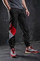 Спортивные штаны Joker, Черно-красные, плащевка на трикотажной основе