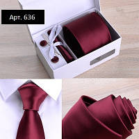 Подарочный бордовый набор: галстук, запонки, платок, зажим