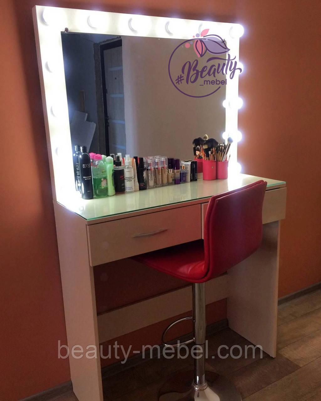 Гримерный столик со стеклом на столешнице, столик для макияжа с зеркалом и лампами