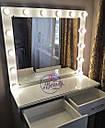 Гримерный столик со стеклом на столешнице, столик для макияжа с зеркалом и лампами, фото 2