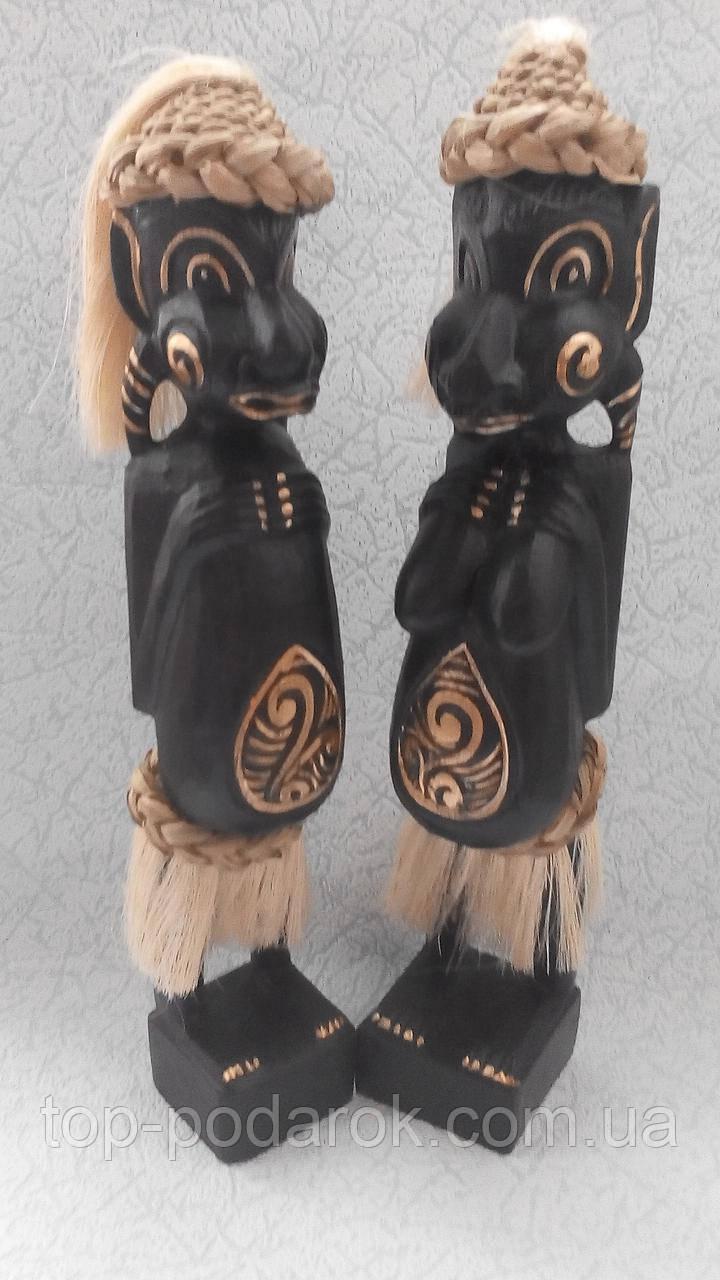 Пара статуэток деревянных Маори высота 35 см