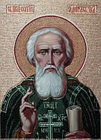 Именные иконы бисером. Икона из бисера  Святого Сергия Радонежского