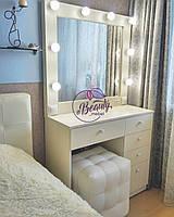 Гримерный стол с зеркалом и лампами, столик для макияжа с большим количеством выдвижных ящиков
