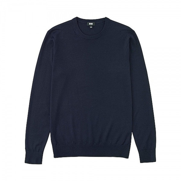 Свитер Uniqlo Men Extra Fine Merino Crew Neck Blue
