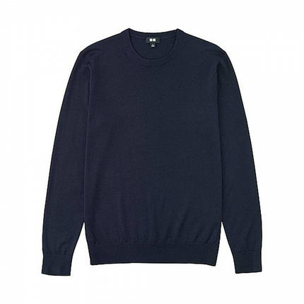 Свитер Uniqlo Men Extra Fine Merino Crew Neck Blue, фото 2