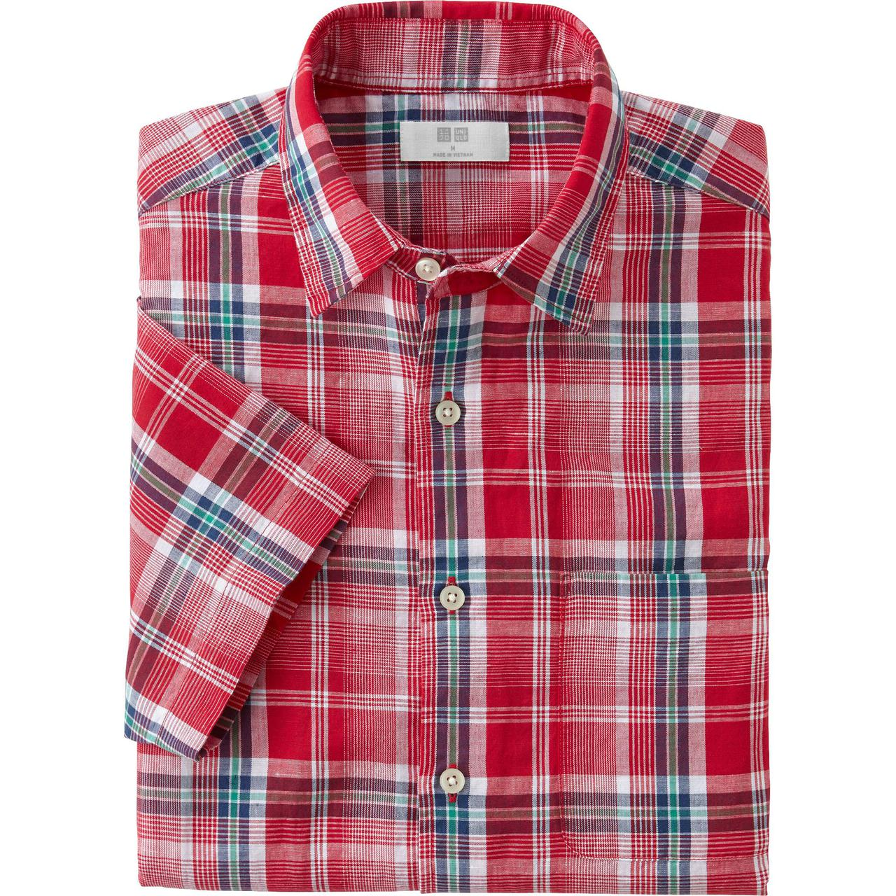 Рубашка Uniqlo Men linen short sleeve Red