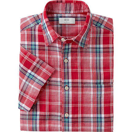Рубашка Uniqlo Men linen short sleeve Red, фото 2