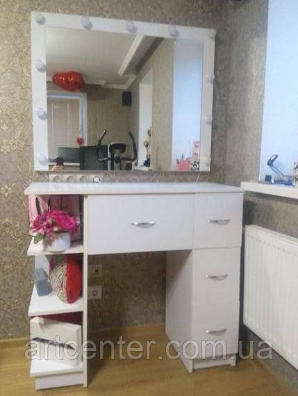 Туалетный столик, белый гримерный столик, стол для визажиста
