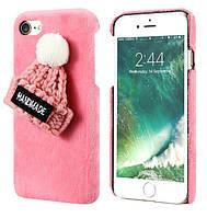 Чехол накладка на iPhone Х плюшевый роз. с роз. шапочкой, пластик
