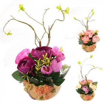 """Композиция из искусственных цветов STENSON """"Розы в горшке"""" (R22316)"""
