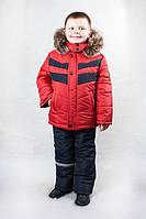 Зимний комбинезон для мальчика красного цвета