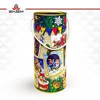 Новорічна упаковка Вінтажні марки, тубус з картону, L, tc1040