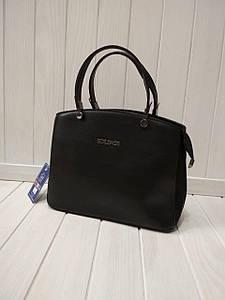 Черная сумка женская из экокожи с двумя ручками 21*25*12см