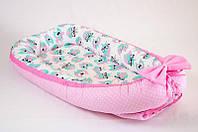 Кокон - позиционер для малыша с непромокаемым матрасом BabySoon Розовые совушки 50Х80см (457), фото 1
