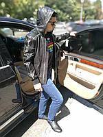 Куртка мужская, кожаная (в молодежно - спортивном стиле), с капюшоном, фото 1