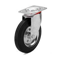 Колеса с поворотным кронштейном с площадкой, диаметр 125 мм, нагрузка 100 кг, Фрегат 10 20 125 РТ (Резина стандартная черная / cталь (эконом серия))