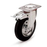 Колеса поворотные с тормозом с площадкой Фрегат 10 30 125 РТ, диаметр 125 мм, нагрузка 100 кг (Резина стандартная черная / cталь (эконом серия))