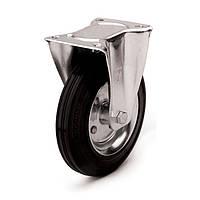 Колеса с неповоротным кронштейном Фрегат 10 11 200 РК, диаметр 200 мм, нагрузка 230 кг (Резина стандартная черная / cталь (эконом серия))