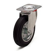 Колеса с поворотным кронштейном с площадкой, диаметр 200 мм, нагрузка 250,00 кг, Фрегат 11 20 200 РИ (Резина стандартная черная / cталь (профи серия))