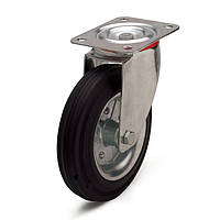 Колеса с поворотным кронштейном с площадкой, диаметр 250 мм, нагрузка 275,00 кг, Фрегат 11 20 250 РИ (Резина стандартная черная / cталь (профи серия))