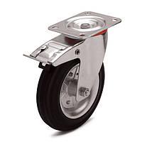 Колеса поворотные с тормозом с площадкой, диаметр 200 мм, нагрузка 250,00 кг, Фрегат 11 30 200 РИ (Резина стандартная черная / cталь (профи серия))