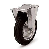 Колеса с неповоротным кронштейном, диаметр 125 мм, нагрузка 130,00 кг, Фрегат 11 10 125 РИ (Резина стандартная черная / cталь (профи серия))
