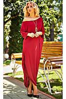 """Платье свободного кроя """"Мадлен""""  красно - кораллового цвета. Размеры S-58"""