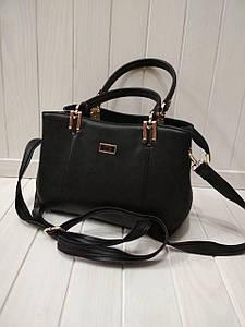Женская черная сумка на три отделения с двумя ручками 20*28*10 см