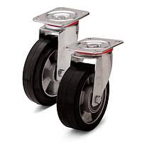Колеса с поворотным кронштейном с площадкой Фрегат 20 22 125 ШТ, диаметр 125 мм, нагрузка 250 кг (Резина эластичная черная /  алюминий (профи серия))