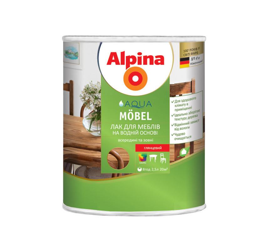 Акриловый мебельный лак Alpina Aqua Möbel (глянцевый) 2.5 л