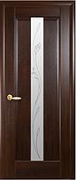 Дверное полотно Премьера Со стеклом сатин и рисунком Р2 Каштан