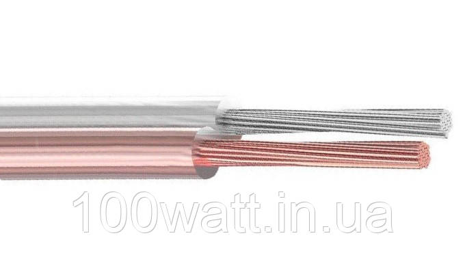 Кабель акустический медь + луж. медь 2х102 прозрачный, 100м ST 476 (ШВВП 2х1,5)