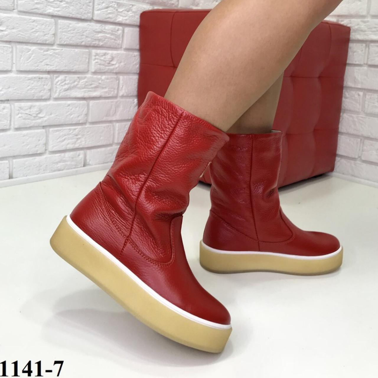 Женские кожаные Угги красные