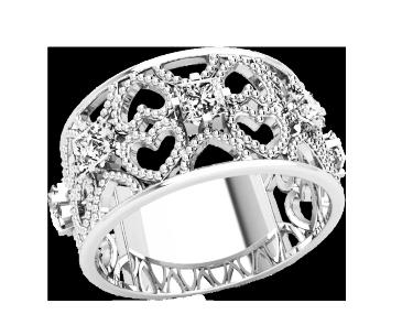 Кольцо  женское серебряное Сердца 21245