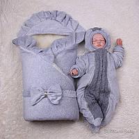 """Зимовий набір на виписку з пологового будинку """"Марія+Weave"""" сірий, фото 1"""