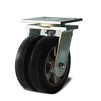 Колеса сдвоенные поворотные Фрегат 20 25x2 200 ШФ, диаметр 200 мм, нагрузка 900 кг (Резина эластичная черная /  алюминий (профи серия))