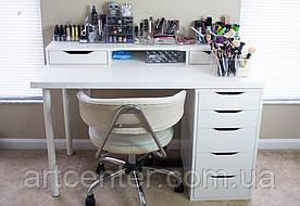 Стол для визажиста, белый  визажный стол с ящиками