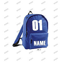 Именной рюкзак синий, печать на рюкзаках
