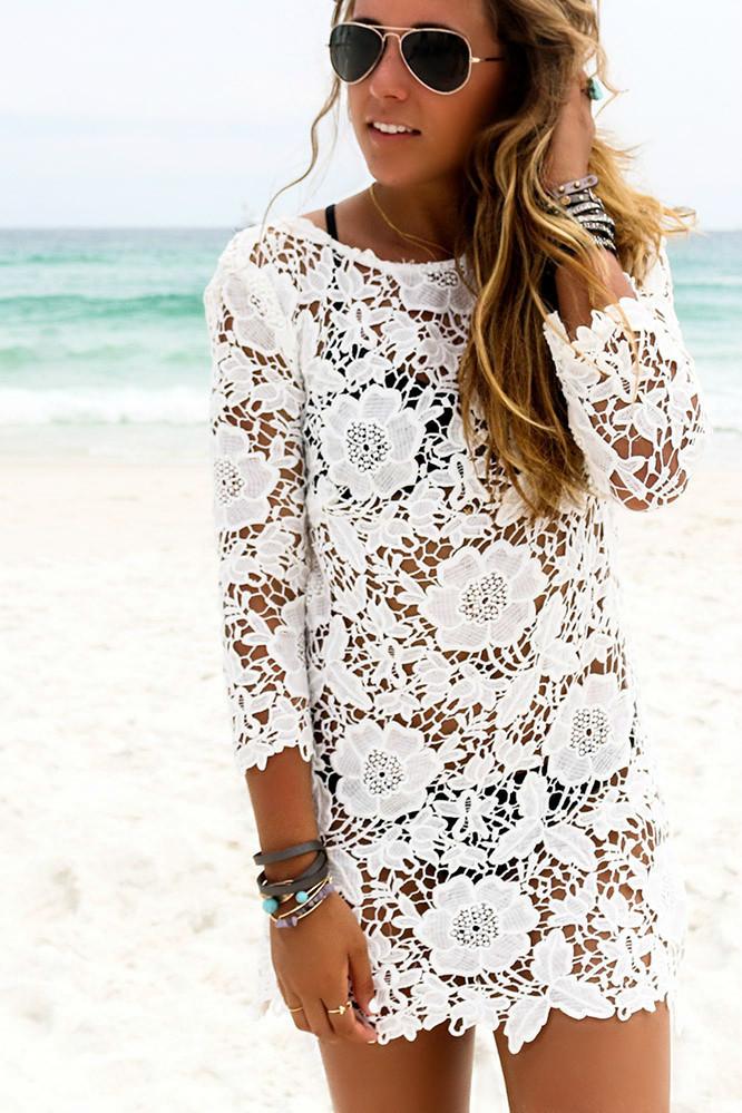Кружевная пляжная туника белая с рукавом