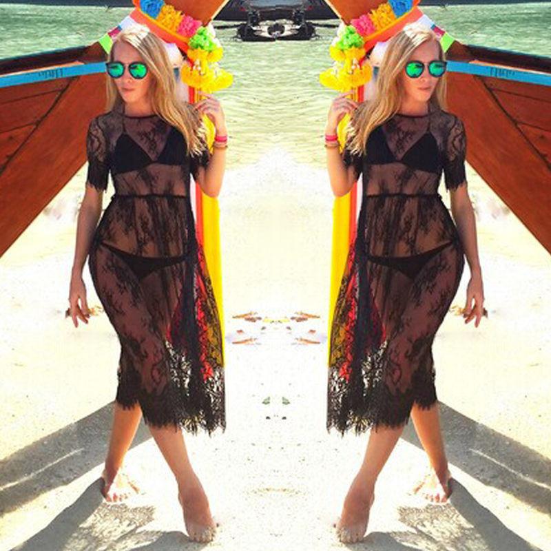 Элегантная кружевная пляжная туника