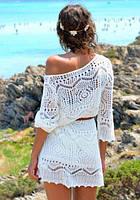 Белое кружевное платье-туника для пляжа