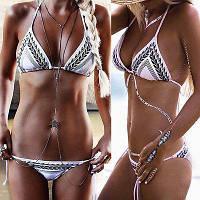 Купальник бикини с узором на завязках, фото 1