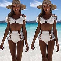 Женский купальник белый ретро стиль, фото 1