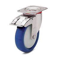 Колеса поворотные с тормозом с площадкой Фрегат 41 30 100 ШТ, диаметр 100 мм, нагрузка 150 кг (Синий полиуретан / полиамид (комфорт серия))