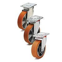 Колеса с поворотным кронштейном с площадкой, диаметр 100 мм, нагрузка 180 кг, Фрегат 50 20 100 ШТ (Полиуретан / алюминий)