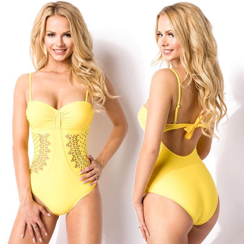 Сексуальный слитный купальник желтый Push Up