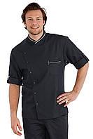Китель поварской мужской черный с белым кантом с длинным рукавом Atteks - 00902