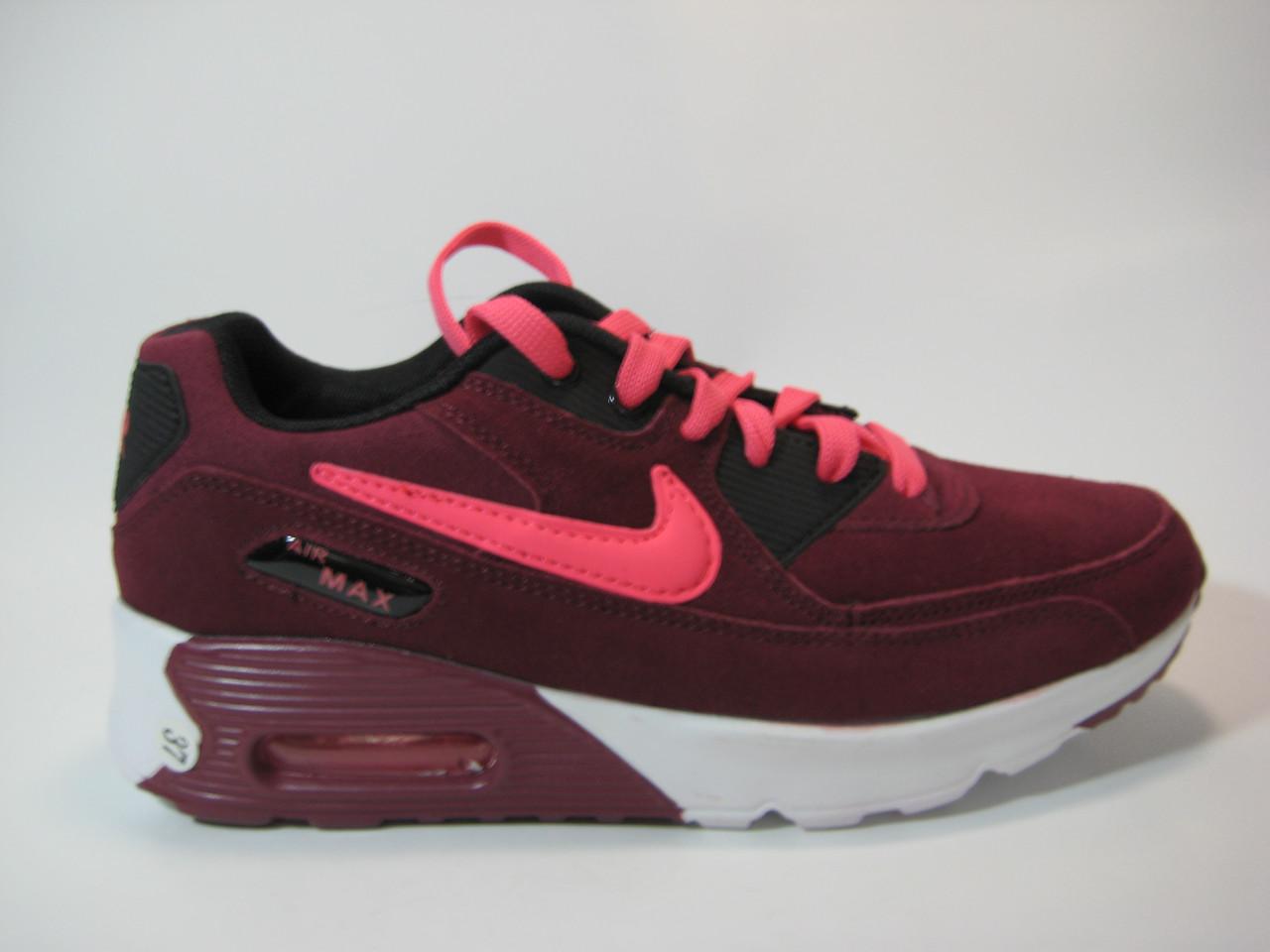 Замшевые женские кроссовки бордового цвета, фото 1