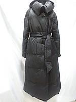 Пуховик-одеяло на Био- пухе с капюшоном цвет-чёрный длина 120см 46р 48р 50р